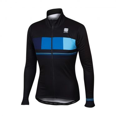 Sportful Stripe thermal Langarm Jacket Schwarz/Blau Herren