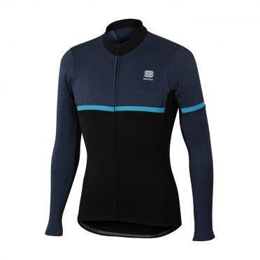 Sportful Giara warm Langarm Radtrikot Schwarz/Blau Herren
