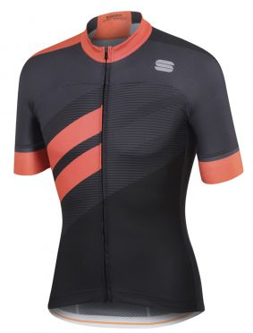 Sportful Bodyfit team jersey Kurzarm Radtrikot Schwarz/Orange Herren