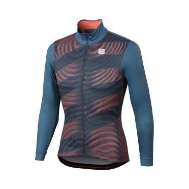 Sportful Moire thermal Langarm Radtrikot Blau/Rot Herren