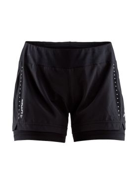 Craft Essential 2-in-1 Laufshort Schwarz Damen
