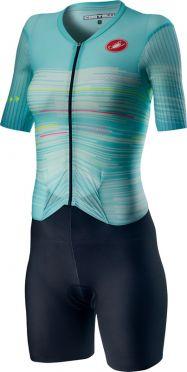 Castelli PR W speed Trisuit Kurzarm Schwarz/Blau Damen