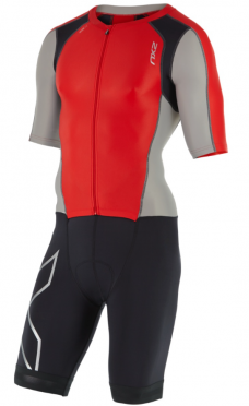 2XU Compression Full Zip sleeved trisuit Schwarz/Grau/Rot Herren