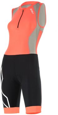 2XU Compression Trisuit Front Zip Orange/Schwarz Damen