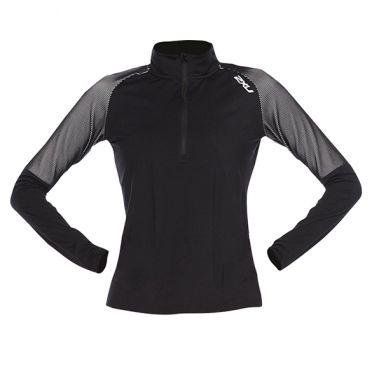 2XU GHST 1/2 Zip Laufshirt langer Ärmel black/white Damen
