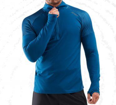2XU GHST 1/2 Zip Laufshirt langer Ärmel Blau Herren
