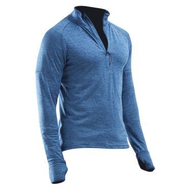 2XU Pursuit Thermal 1/4 Zip Laufshirt langer Ärmel Blau Herren