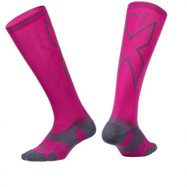 2XU Vectr merino LC Full Lenght Kompression hoche socken Rosa