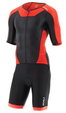2XU X-vent Sleeved Full Front Zip Trisuit Schwarz/Rot Herren