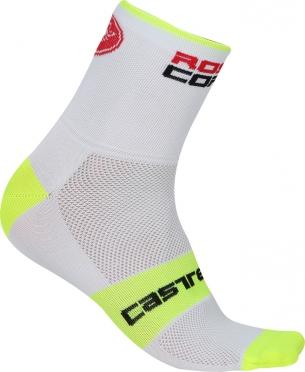Castelli Rosso corsa 9 Fahrradsocken Weiß/Gelb Herren