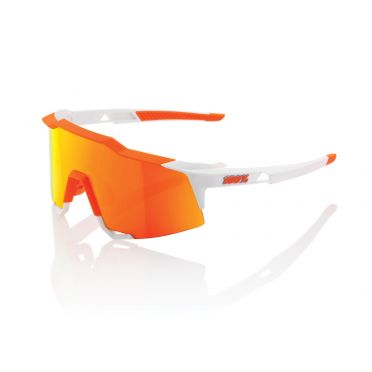 100% Speedcraft Sportbrillen Weiß mit hiper lens soft Orange