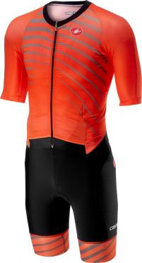 Castelli All out speed Trisuit Kurzen Ärmel Orange/Schwarz Herren