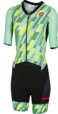 Castelli All out W speed Trisuit Kurzen Ärmel Minze/Gelb/Schwarz Damen