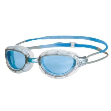 Zoggs Predator Schwimmbrille Silber/Blau - blaue Linse