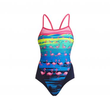 Funkita Flamingo flood Single Strap Badeanzug Damen