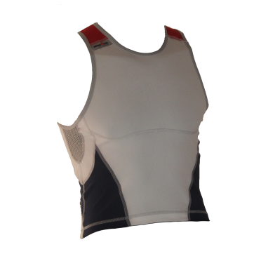 Ironman Tri top ärmellos New Olympic Weiß/Blau Herren