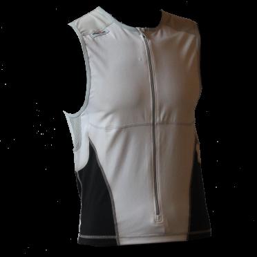 Ironman Tri top front zip ärmellos Bodysuit Weiß/Schwarz Herren