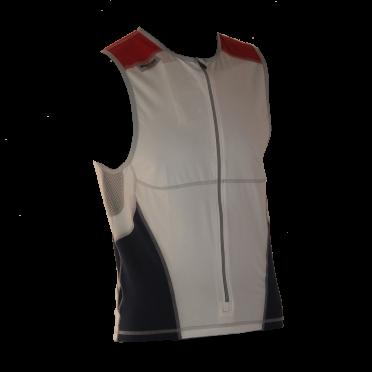 Ironman Tri top front zip ärmellos Bodysuit Weiß/Blau/Rot Herren