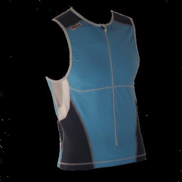 Ironman Tri top front zip ärmellos Bodysuit Blau Herren