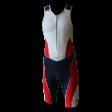 Ironman Trisuit front zip ärmellos Bodysuit Weiß/Blau/Rot Herren