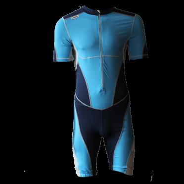 Ironman Trisuit front zip Kurzarm Bodysuit Blau Herren