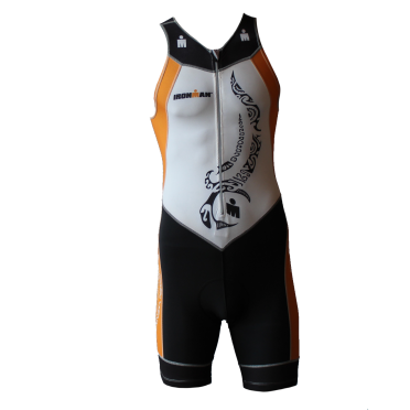 Ironman Trisuit front zip ärmellos Multisport Tattoo Weiß/Orange Herren