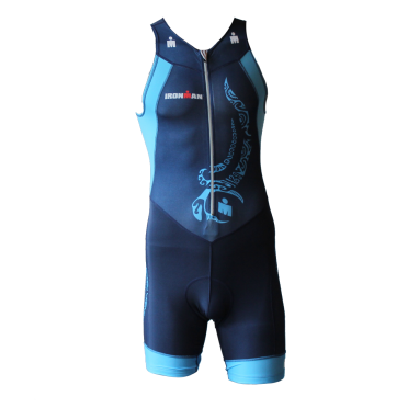 Ironman Trisuit front zip ärmellos Multisport Tattoo Blau Herren