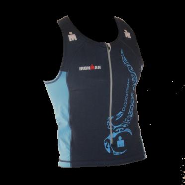 Ironman Tri top front zip ärmellos Multisport Tattoo Blau Herren