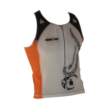 Ironman Tri top front zip ärmellos Multisport Tattoo Weiß/Orange Herren