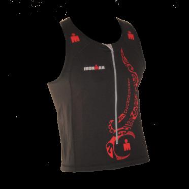 Ironman Tri top front zip ärmellos Multisport Tattoo Schwarz/Rot Herren