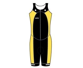 Ironman Trisuit front zip ärmellos Multisport Schwarz/Gelb Herren