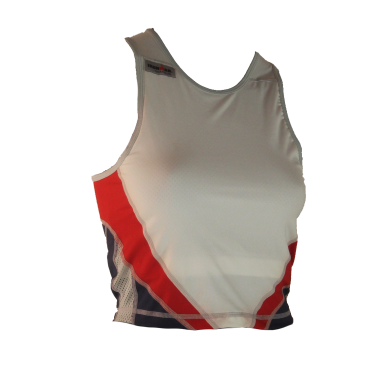 Ironman Tri top ärmellos Extreme Weiß/Blau/Rot Damen