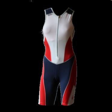 Ironman Trisuit front zip ärmellos Bodysuit Weiß/Blau/Rot Damen