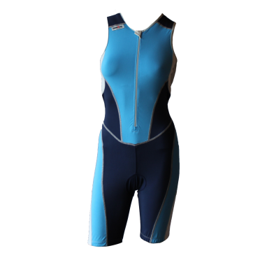Ironman Trisuit front zip ärmellos Bodysuit Blau Damen