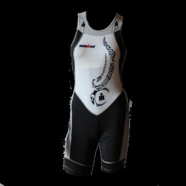 Ironman Trisuit back zip ärmellosem Multisport Tattoo weiß/Schwarz/Silber Damen