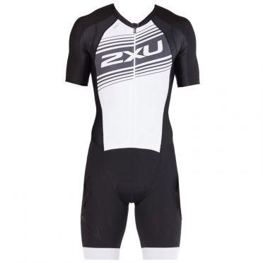 2XU Compression Kurzarm Trisuit Schwarz/Weiß Herren