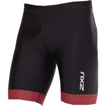 "2XU Perform 9"" Tri shorts Schwarz/Rot Heren"