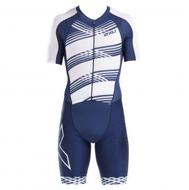 2XU Compression Kurzarm Trisuit Blau/Weiß Herren