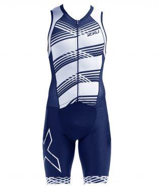 2XU Compression Ärmellos Trisuit Blau/Weiß Herren