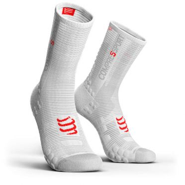 Compressport Pro racing v3.0 hohe Radsocken Weiß