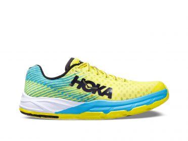 Hoka One One Evo Carbon Rocket Laufschuhe Blau/Gelb Damen