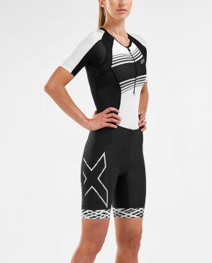 2XU Compression Kurzarm Trisuit Schwarz/Weiß Damen