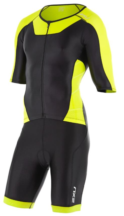 2XU X-vent Sleeved Full Front Zip Trisuit Schwarz/Gelb Herren  MT4355dBLK/LPU