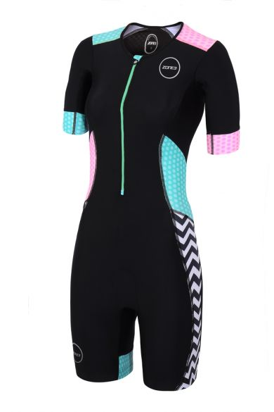 Zone3 Activate Plus Kurzarm Trisuit Zebra fly Damen  TS18WACPS101