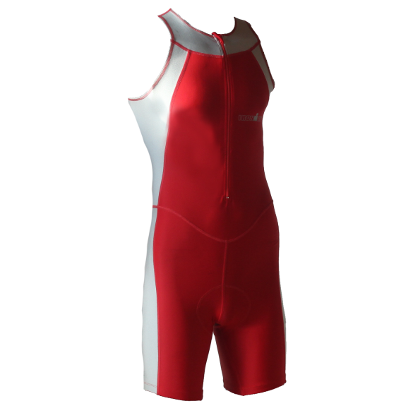 Ironman Trisuit front zip ärmellos Skin suit Rot/Silber Herren  IM1502-05/10