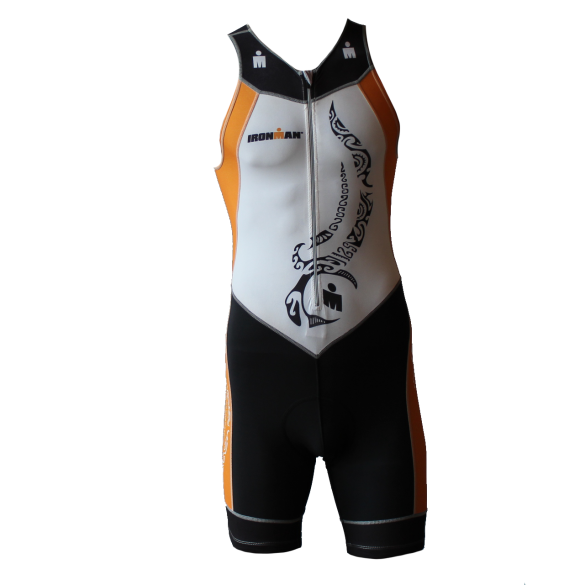 Ironman Trisuit front zip ärmellos Multisport Tattoo Weiß/Orange Herren  IM8902-03/13