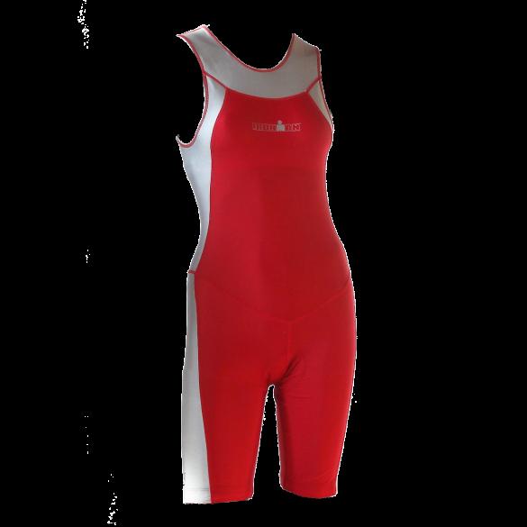 Ironman Trisuit back zip ärmellos Skin suit Rot/Silber Damen  IMW1517-05/10