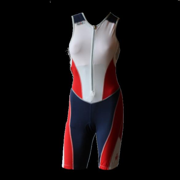 Ironman Trisuit front zip ärmellos Bodysuit Weiß/Blau/Rot Damen  IMW8517-03/41