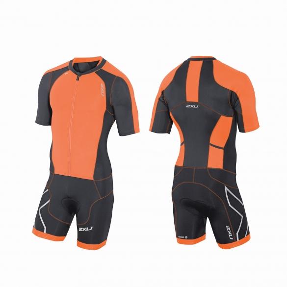 2XU Compression Full Zip sleeved trisuit Orange/Schwarz Herren   MT3613d