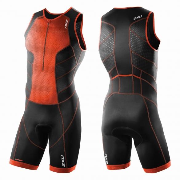 2XU Perform Front Zip Trisuit Orange/Schwarz Herren    MT3858d